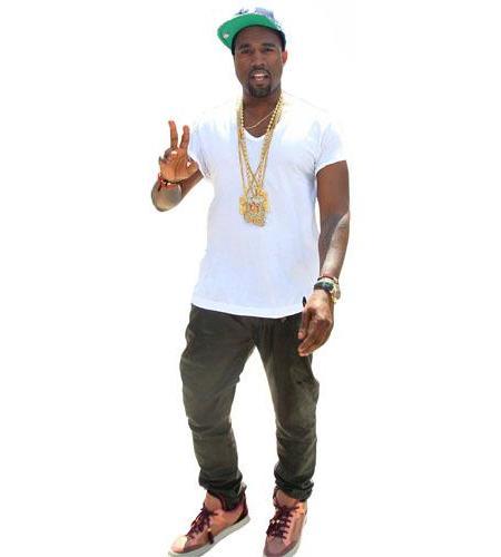 A Lifesize Cardboard Cutout of Kanye West wearing a white t-shirt