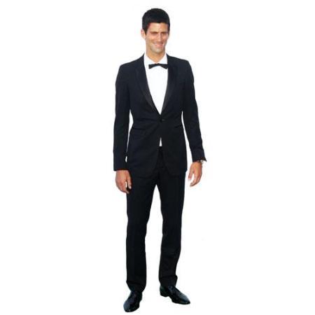 A Lifesize Cardboard Cutout of Novak Djokovic wearing a suit
