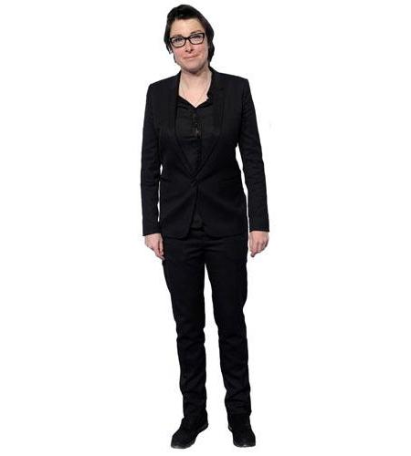 A Lifesize Cardboard Cutout of Sue Perkins wearing a suit