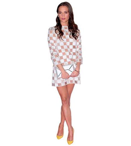 A Lifesize Cardboard Cutout of Alicia Vikander wearing a dress
