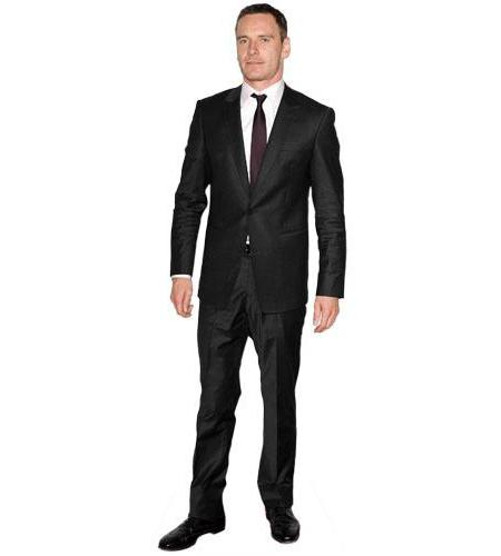 A Lifesize Cardboard Cutout of Michael Fassbender wearing suit and tie