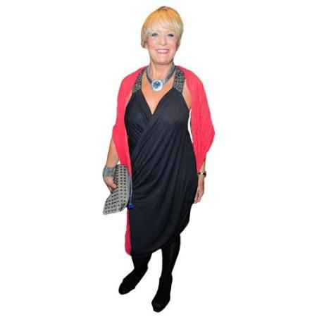 A Lifesize Cardboard Cutout of Sherrie Hewson wearing a red wrap