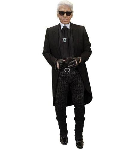 A Lifesize Cardboard Cutout of Karl Lagerfeld wearing leather