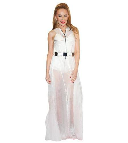 A Lifesize Cardboard Cutout of Kylie Minogue wearing a white dress