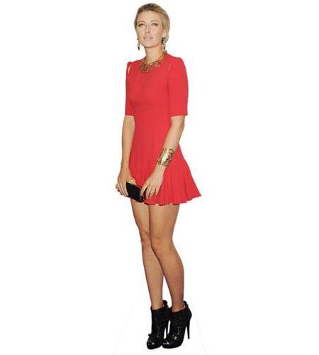 A Lifesize Cardboard Cutout of Maria Sharapova wearing a short red dress