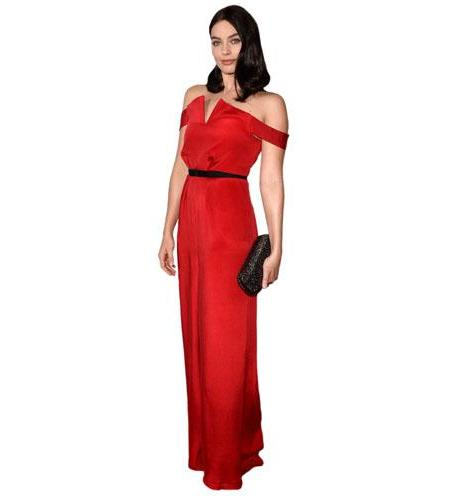 A Lifesize Cardboard Cutout of Margot Robbie wearing a red dress