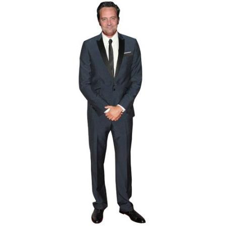 A Lifesize Cardboard Cutout of Matthew Perry wearing a suit