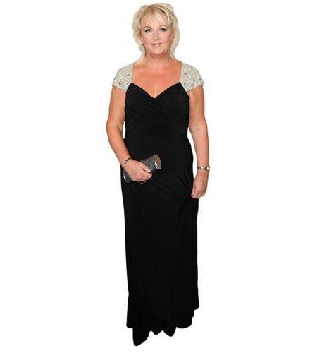 A Lifesize Cardboard Cutout of Sue Cleaver wearing a dress