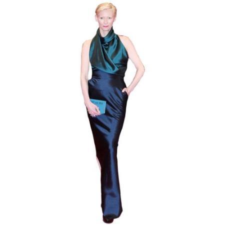 A Lifesize Cardboard Cutout of Tilda Swinton wearing a dress