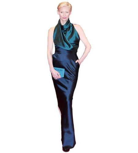 A Lifesize Cardboard Cutout of Tilda Swinton wearing a dress