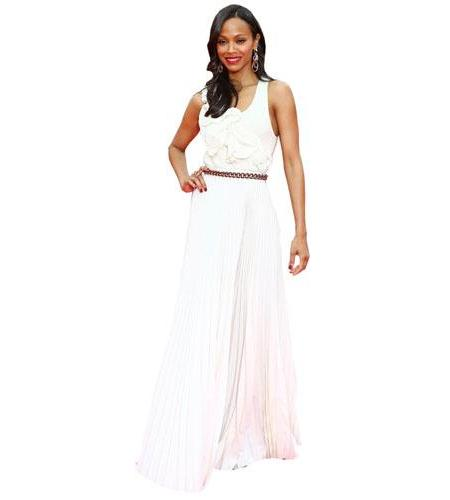 A Lifesize Cardboard Cutout of Zoe Saldana wearing a dress