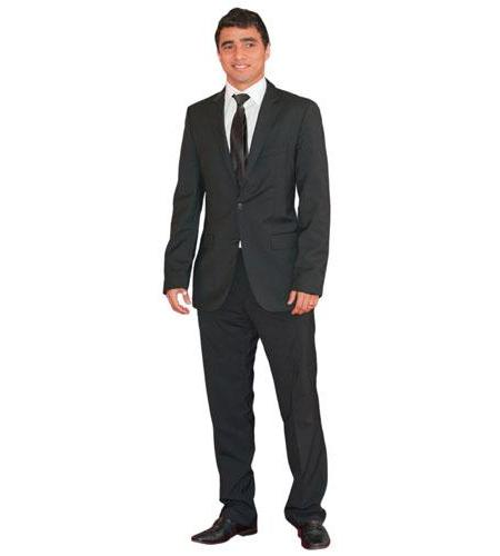 A Lifesize Cardboard Cutout of Rafael wearing a suit