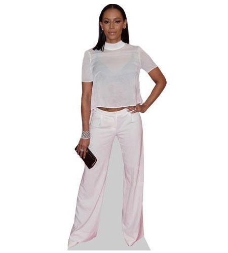 A Lifesize Cardboard Cutout of Mel B wearing white trousers