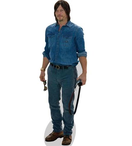 A Lifesize Cardboard Cutout of Norman Reedus wearing jeans