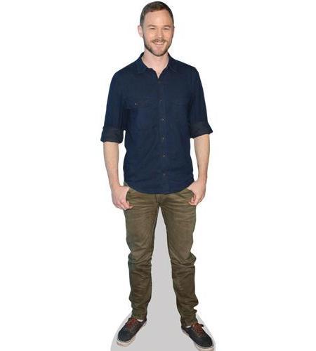 A Lifesize Cardboard Cutout of Aaron Ashmore wearing a blue shirt