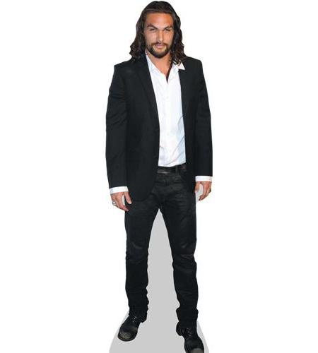 A Lifesize Cardboard Cutout of Jason Momoa wearing a suit