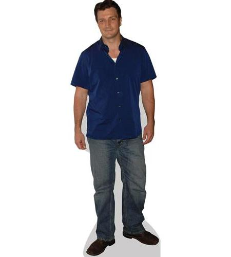 A Lifesize Cardboard Cutout of Nathan Fillion wearing a shirt