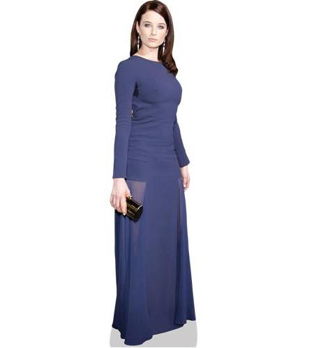 A Lifesize Cardboard Cutout of Rachel Nichols wearing a blue dress