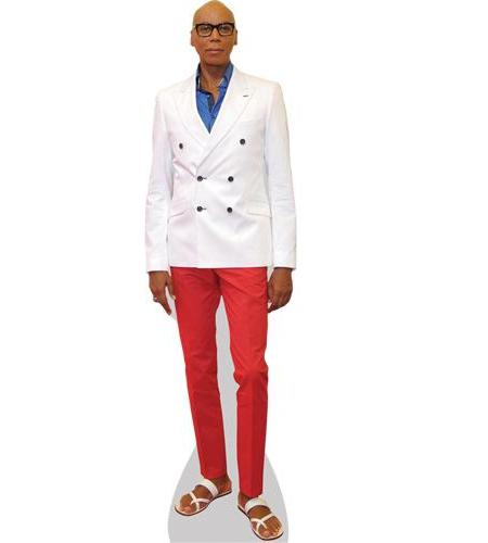 A Lifesize Cardboard Cutout of Ru Paul wearing red trousers