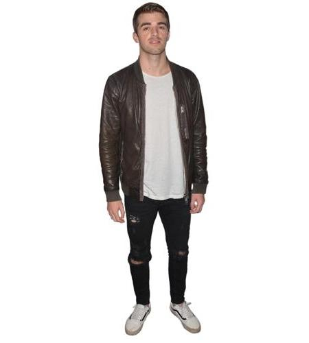 A Lifesize Cardboard Cutout of The Chainsmokers (Andrew Taggart) wearing a leather jacket