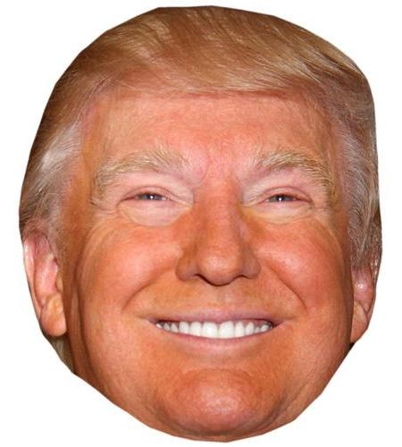 A Cardboard Celebrity Mask of Donald Trump (Smiling)