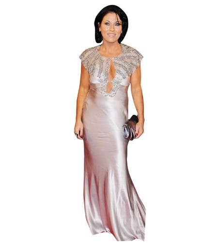 A Lifesize Cardboard Cutout of Jessie Wallace wearing a silver ballgown