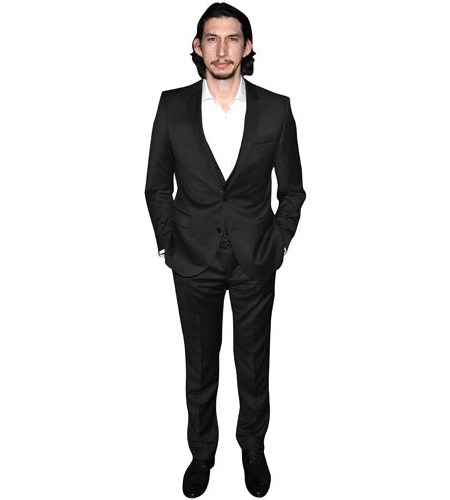 A Lifesize Cardboard Cutout of Adam Driver wearing a suit