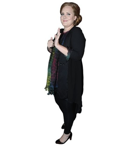A Lifesize Cardboard Cutout of Adele wearing a scarf