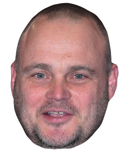 A Cardboard Celebrity Mask of Al Murray