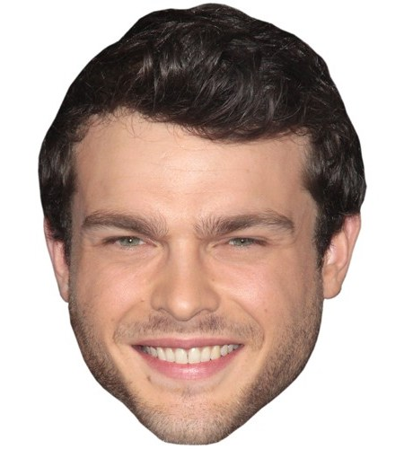 A Cardboard Celebrity Mask of Alden Ehrenreich