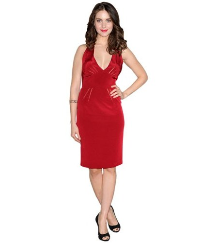 A Lifesize Cardboard Cutout of Alison Brie wearing a red dress