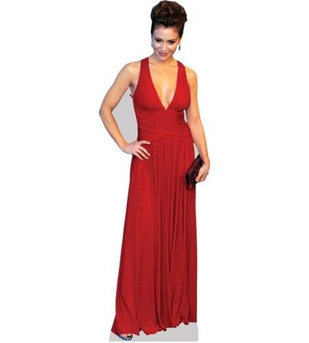 A Lifesize Cardboard Cutout of Alyssa Milano wearing a red dress