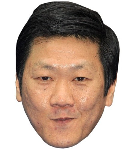 A Cardboard Celebrity Mask of Benedict Wong