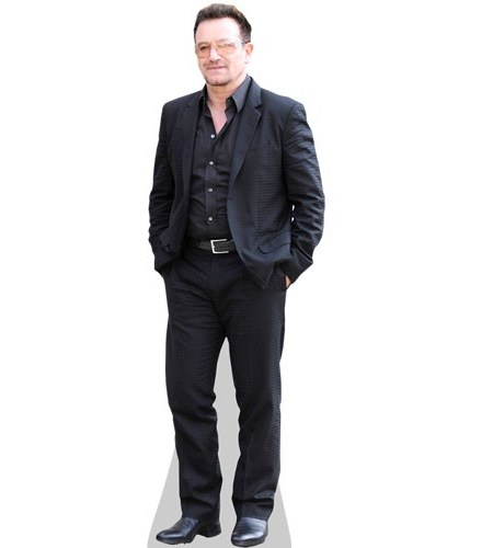 A Lifesize Cardboard Cutout of Bono wearing a shirt