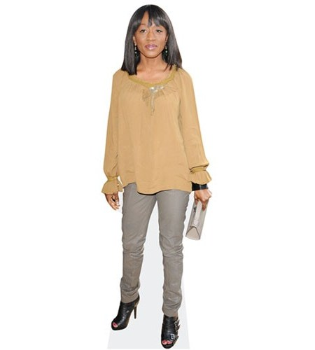 A cardboard cutout of Diane Parish wearing a jumper