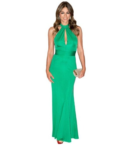 A Lifesize Cardboard Cutout of Elizabeth Hurley wearing a green dress