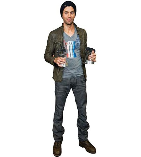 A Lifesize Cardboard Cutout of Enrique Iglesias wearing a beanie