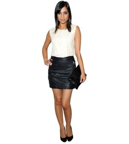 A Lifesize Cardboard Cutout of Fiona Wade wearing a short skirt