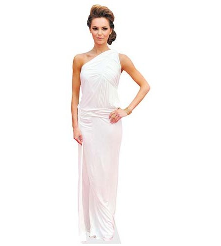 A Lifesize Cardboard Cutout of Kara Tointon wearing a floor length gown
