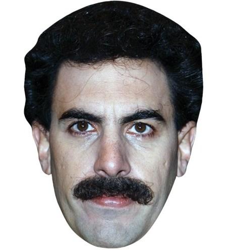 A Cardboard Celebrity Mask of Sacha Baron Cohen (Tash)