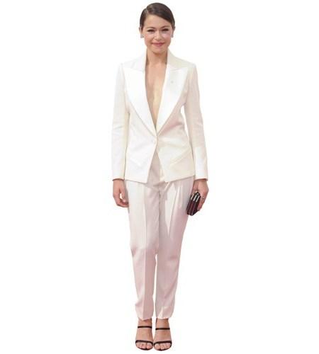 A Lifesize Cardboard Cutout of Tatiana Maslany wearing trousers