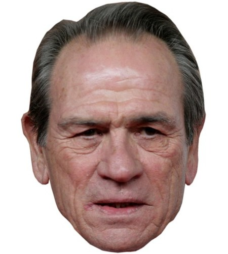 A Cardboard Celebrity Mask of Tommy Lee Jones