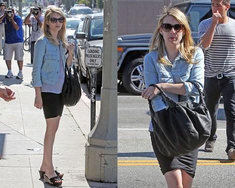 Emma Roberts in Mini Skirt and Denim Jacket