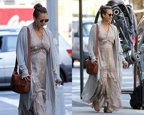 Jessica Alba out in New York wearing Maxi Dress and Cardigan