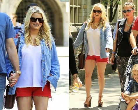 Jessica Simpson in J Brand Shorts and her own Boots