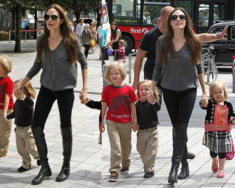 Angelina Jolie in Stuart Weitzman Black 50/50 Boots