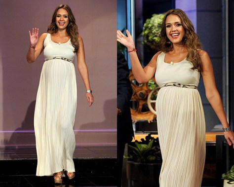 Jessica Alba on The Tonight Show wearing Alice + Olivia Ryan Belted Long Dress