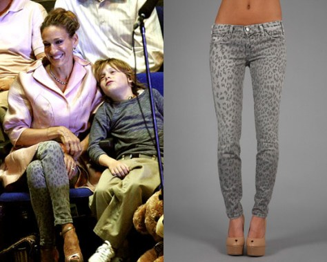 Sarah Jessica Parker in Current/Elliott The Leopard Stiletto Skinnies