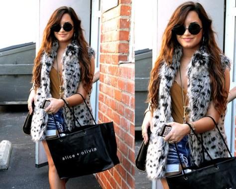 Demi Lovato in Alice + Olivia Shaelyn Long Faux-Fur Vest