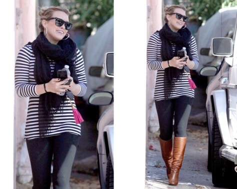 Hilary Duff wearing Love Quotes Scarf and Chanel Boots to Pilates class